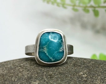 Sleeping BeautyTurquoise Ring, Sterling Silver Ring, Robins Egg Blue Turquoise Ring, 11mm x 10mm, Size 7, Metalsmith Jewelry, Ready to Ship