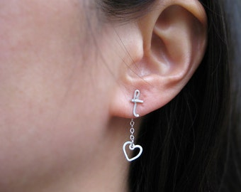 Initial Ear Jacket With Tiny Heart - mismatched stud earrings, sterling silver personalized cursive letter - Short