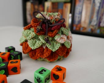 Dice Bag - Crochet Dragon Scale - Orange and Green