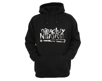 naughty by nature hoodie silver metallic print art hip hop rap legends cult