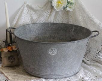 Vintage French Galvanised Wash Basin - Zinc Basin