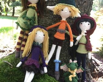 Forest Friends Amigurumi Crochet Dolls, Elf, Fairy, Woodland Creature, Pet Dragon