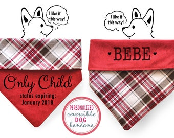 Personalized Stylish Reversible Flannel Dog Bandana (The Classic)