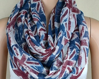 Cotton scarf, restore ancient ways the flag scarf, British flag scarf, infinite loop infinity scarf, collar
