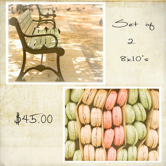 Special, Fine Art Paris Photography Set, Wall Art, Kitchen, Food Photography, Pastels, French Country, Cottage Decor, Set of 2, 8x10 Prints