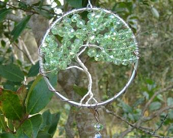 Crystal Suncatcher, Tree of Life Sun Catcher, Window Decor, Car Charm, Beaded Sun Catcher, Rainbow Maker, Wire Wrap Suncatcher,  Prism
