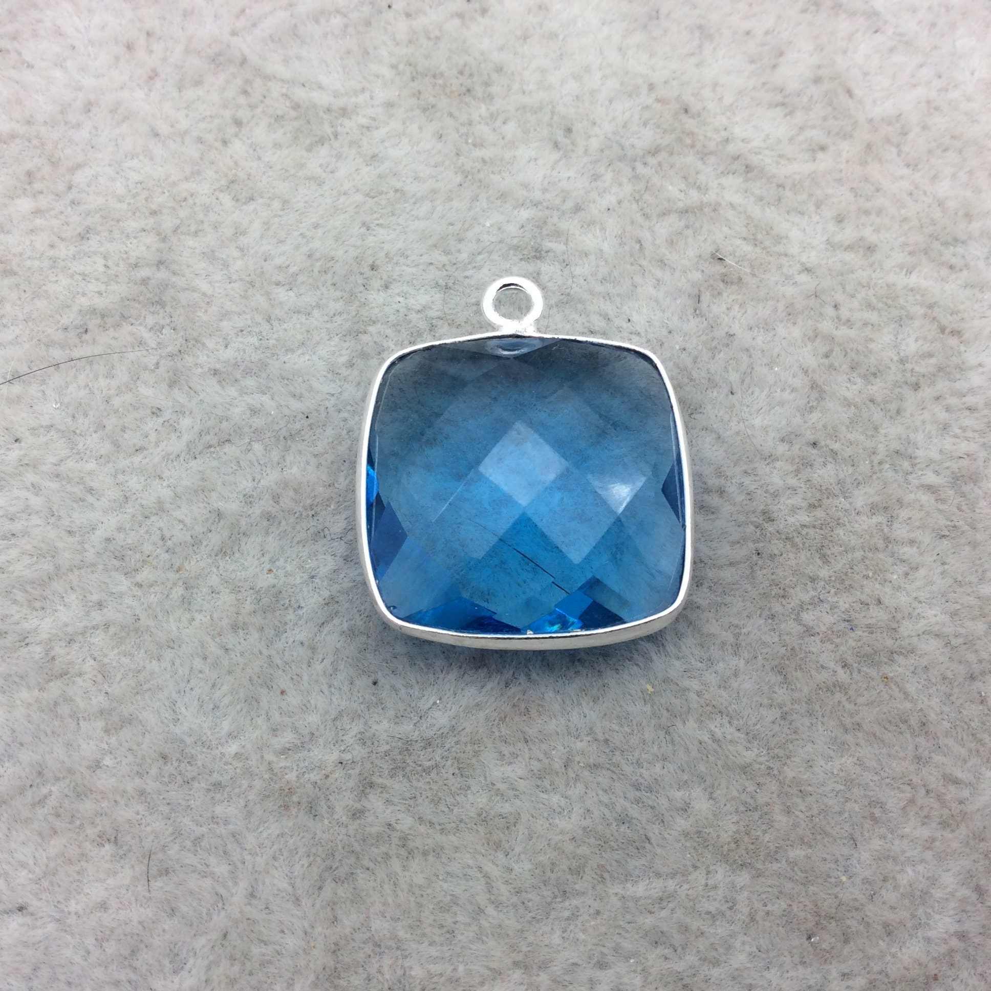 Sterling Silver Faceted Square Shape Ocean Blue Hydro (Lab Created ...