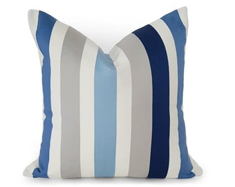 Throw Pillows, Blue Gray Pillows, Blue Stripe Pillow, Blue Pillow Covers, Striped Cushions, Blue Cream Grey, Beach House, 12x18, 18, 20, 22