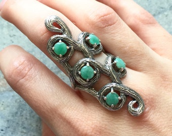 Leaf Ring, Emerald Ring, Vintage Rings, Antique Ring, Antique Emerald Ring, Vintage Emerald Ring, May Birthstone, Solid Silver Ring