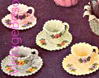 INSTANT DOWNlOAD • PdF Pattern • 1950s Crochet Vintage Pattern • Crochet Tea Cups and Saucers • USA Terms