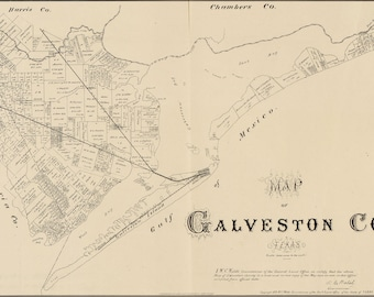 Poster, Many Sizes Available; Map Of Galveston Co., Texas 1879