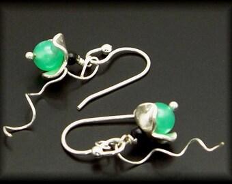 SWEET PEA ~ Green Chrysoprase, Sterling Silver Earrings