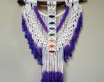 Macrame Chakra wall hanging, meditation, enlightenment, chakra decor, yoga decor, buddha, reiki, crystal healing, crown chakra, purple