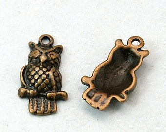 8pc antique copper finish 22x12mm metal owl pendant-6821