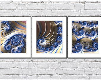 THREE BLUE FRACTALS - fine art prints - wall groupings for home or office - archival prints - spring decor