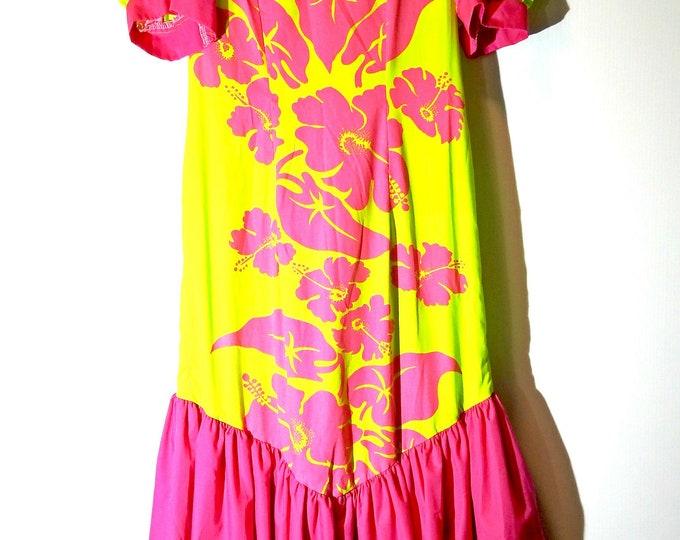 Tropical dress made from fabulous neon hibiscus Hawaiian fabric.