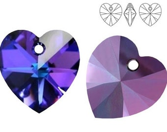 Swarovski Crystal 6228 Heart 10mm,  14mm, 18mm - Heliotrope