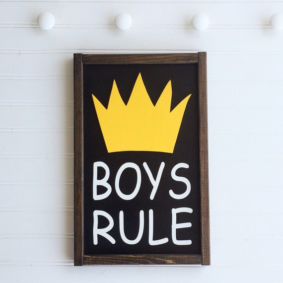 Boys Rule Sign . Wild Things . Boys Rule .Boys Room . Nursery Sign . Brothers . Wild Thing Baby Shower . Big Boy Room