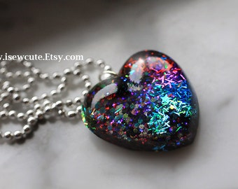 Love Heart Necklace, Multi-Color Heart Resin Pendant Black, Blue, Purple, Red, Magenta, Lavender & Rainbow, Resin Jewelry by isewcute