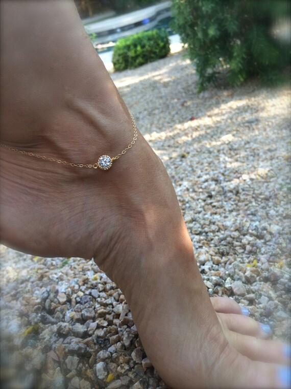 Diamond Anklet Gold Ankle Bracelet Mothers Day Gift Crystal CZ Gold Filled Ankle Bracelet Bridal Anklet Gifts for Her Bridesmaids Jewelry