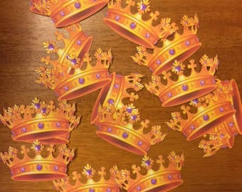 Gold Crown Toppers / Baby Girl / Shower / Party / Set of 12