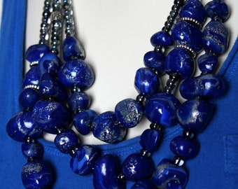 Blue Lapis Lazuli Necklace / Cobalt Blue Stone Statement Necklace / Big Bold Royal Blue Chunky Necklace / Navy Bib Jewelry / Deep Blue Beads