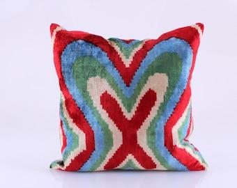 Ikat Velvet Pillow Cover, Uzbek Ikat, Velvet Pillow, Decorative Throw Pillow Cover, Accent Velvet Pillow 16''x16''inches