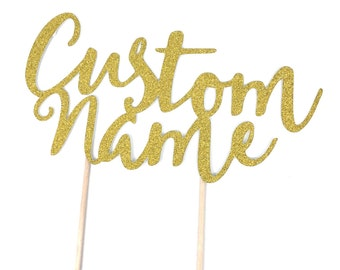 1 pc Custom Name for birthday baby shower name script fonts gold silver glitter cake topper