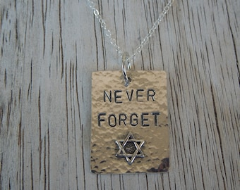 Never Forget - Jewish Holocaust remembrance pendant - 10 dollar donation to Anti-Defamation League with purchase