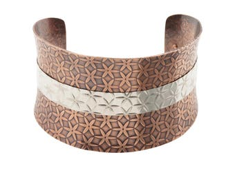 Mixed Metal Cuff Bracelet - Copper/Silver - Metal Cuff Bracelet - Anticlastic - Textured - Wide