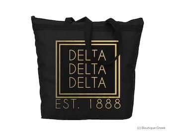 TriDelta Delta Delta Delta Alpha Foil Frame Sorority Tote