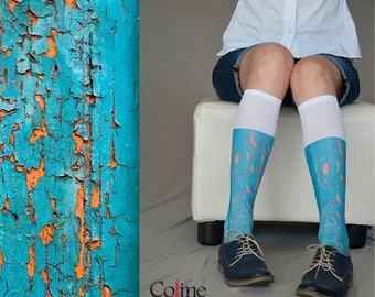 New Knee High  Socks with Turquoise Chipped paint Texture Print, Hand Printed Nylon Socks
