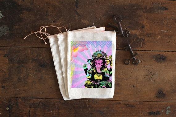 Ganesha Muslin Bags - Art Bag - Pouch - Gift Bag - 5x7 bag - Party Favor