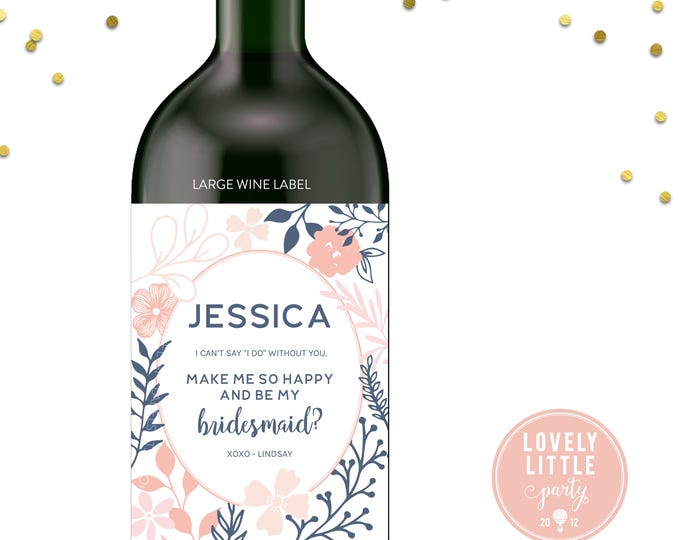 Featured listing image: Pretty Florals Will you be my bridesmaid wine labels, bridesmaid wine labels, modern bridesmaid labels, bridesmaid gift - style 1010