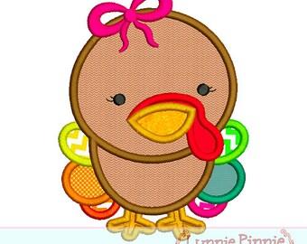 BABY TURKEY Girl Applique 4x4 5x7 6x10 Machine Embroidery Design Thanksgiving  INSTANT Download