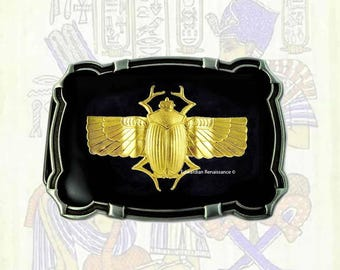 Brass Gold Scarab Belt Buckle Inlaid in Hand Painted Black Enamel Egyptian Beetle Custom Colors Available