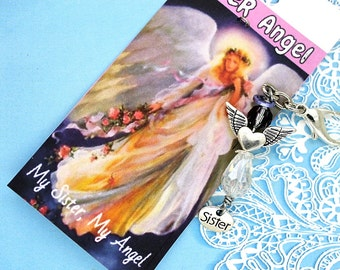 Sister Angel. Sister Charm. Sister Purse Charm. Sister Keychain.