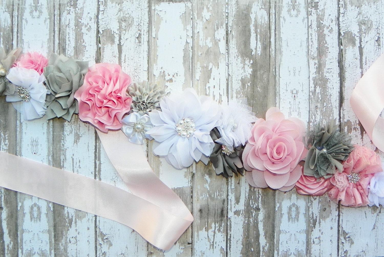 Pink Grey Sash Pink Bridal Sash Pink Gray White Wedding