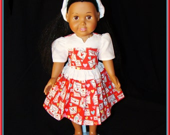 "Valentine for 18"" American Girl Doll, Red and White, Flirty Little Dress w Matching Shoes to Brighten up your Valentine's Day!"