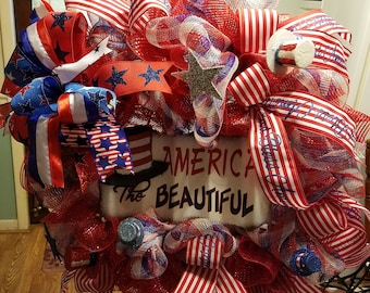 american red white blue deco mesh wreath