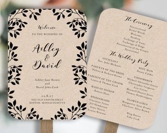 Wedding Fan Template, Rustic Wedding Fan, Wedding Fan Program, Printable Wedding Fan, You Change Color, DIY Wedding Fan