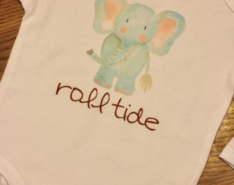 Roll Tide Alabama Elephant Baby Shower or New Baby Gift Onesie