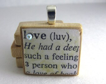 Love - vintage dictionary Scrabble tile with Swarovski crystal