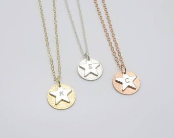 VENUS necklace - personalised star necklace | initial necklace in silver, gold or rose gold fill | mixed metal, gift for her