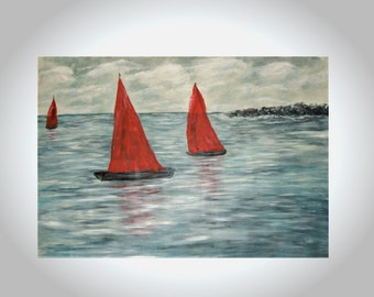 45x70 Large painting, art canvas, housewarming gift for parents, anniversary gifts, gray home decor, red sailboats art, ocean abstract