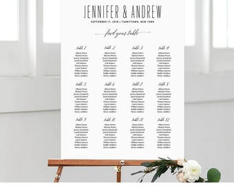 Wedding Seating Chart, Minimialist & Modern Seating Plan Printable, 100% Editable, Instant Download, Digital, Chalkboard, DIY #NC-208SC