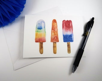 Popsicle Watercolor Greeting Card - watercolor summer treat greeting card