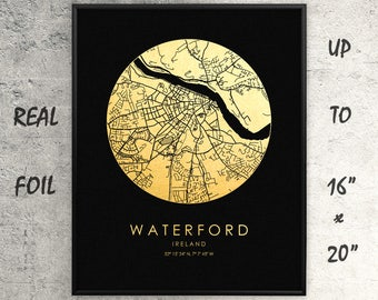 "Waterford 16""x20"" City Map Gold Print, Real Gold Foil Print, Waterford Circle Map, Waterford Poster, Waterford Gift, Ireland, GoldenGraphy"