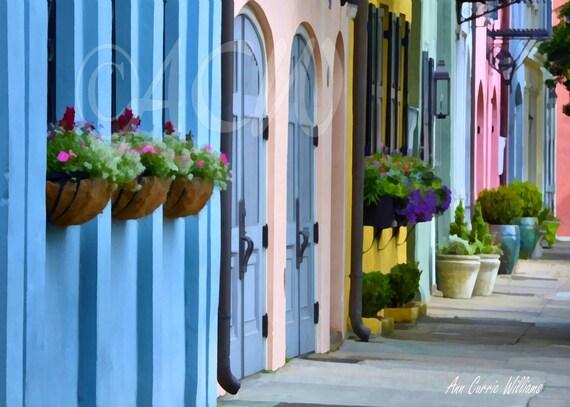 Rainbow Row Blue House Charleston, South Carolina Street
