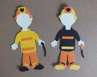 2 Assembled FIREFIGHTERS Greeting Cards Scrapbooking Dress up dolls
